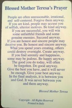 Be kind. Words of wisdom. Encouragement.