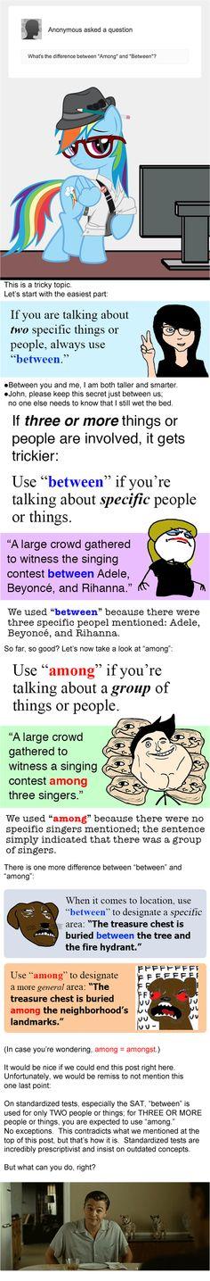 #grammar #among #between