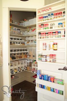 Organize Your Walk-In Pantry With Labeled Baskets and Clear Canisters - 30 Kitchen Pantry Closets That Are Perfectly Organized Small Pantry Organization, Recipe Organization, Organization Hacks, Organized Pantry, Pantry Ideas, Kitchen Ideas, Storage Organization, Diy Storage, Spice Storage