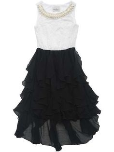 2015 Tween Little Black Ruffles & Pearls Dress Preorder<br>7 to 16 Years