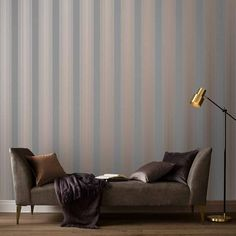 Lagom Stripe Grey & Rose Gold Wallpaper | Grey Wallpaper | Graham & Brown