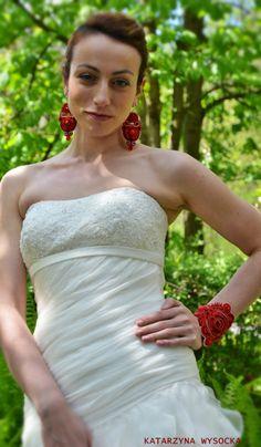 soutache earrings and bracelet 'Byzantikon' by MagiaSoutache on DeviantArt Soutache Earrings, Formal Dresses, Wedding Dresses, One Shoulder Wedding Dress, Deviantart, Bridal, Bracelets, Fashion, Dresses For Formal