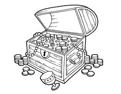 Treasure Chest Coloring Page  Crafts  Pinterest  D Coloring and As