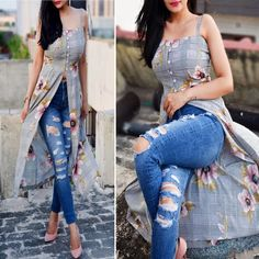 Simple Kurti Designs, Kurta Designs Women, Salwar Designs, Indian Outfits Modern, Indian Fashion Dresses, Elegant Dresses Classy, Trendy Dresses, Front Slit Kurti, Kurti Designs Party Wear