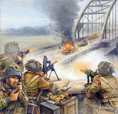 British Paratroops defend the bridge at Arnhem 1944. i. Major battle for the war. ii. Shows the machine guns used to defend bridge and tanks trying to cross it.