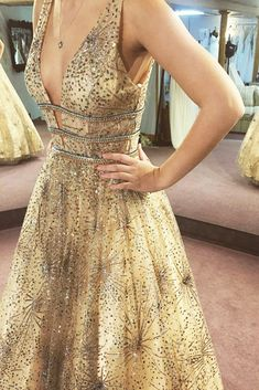 Gorgeous A-Line Sequins Gold Long Prom Dress Ball Gown Gorgeous Prom Dresses fc58bff3ec59