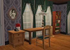 Sims Games, Sims Ideas, Vanity, Curtains, Mirror, House, Furniture, Home Decor, Dressing Tables