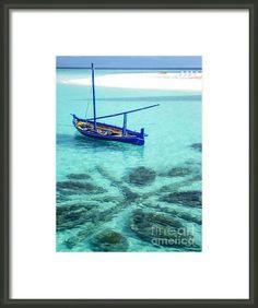 Blue Peace. Maldives by Jenny Rainbow. #Ocean #Water #Zen #Dhoni #Boat #Tropical #Maldives #Vacations #Travelling #Beach #Blue #Serenity #JennyRainbowFineArtPhotography #AngsanaVelavaru #FramedPrints Small traditional Maldivian boat Dhoni on blue lagoon. Resort Angsana Velavaru.