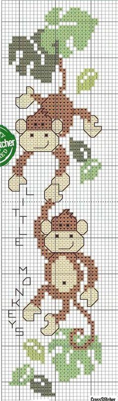cross stitch pattern, monkey, bookmark