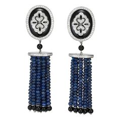 ae90aaaf9 1960s Tiffany and Co. Seed Pearl Black Onyx Diamond Platinum Tassel Earrings  in 2019 | hero | Jewelry, Tassel earrings, Earrings