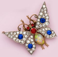 Edwardian Opal, Sapphire, Ruby, Diamond, Gold And Platinum Butterfly Brooch