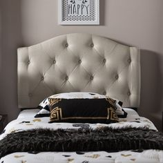 Baxton Studio Whalen Light Beige Contemporary Fabric Upholstered Button Tufted Headboard