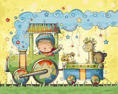 One of my favorite illustrations by one of my favorite artists, Rachelle Anne Miller. Train Illustration, Cute Clipart, Train Rides, Creative Studio, Baby Cards, Nursery Art, Cute Drawings, Cute Art, Cute Pictures
