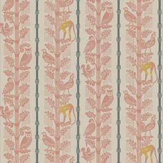 Monkey and Birds by Sheila Robinson is a 3 colour wallpaper, originating from her linocut blocks, designed in 1968 | St. Jude's Fabrics