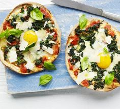 This quick, budget take on classic spinach and egg 'florentine' pizza uses flatbreads instead of traditional dough