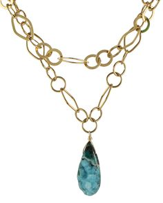 Chrysocolla Crystal Necklace by Peggy Li Creations. Bold pendant, double strands of chain.