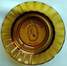 Silver Slipper Hotel Casino Las Vegas Round Flared Amber Glass Vintage Ashtray