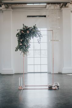 Industrial style ceremony arch, made from copper piping