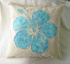 "Hibiscus flower applique in aqua batik on natural denim boho pillow cover 24"""