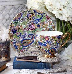 Rare Shelley Blue Paisley Chintz Pattern 14038 #Teacup & saucer