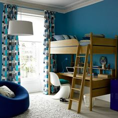Outstanding Bedroom Decor Ideas for Young Adults Men with Blue Wall Paint Color and Computer Desk under Bed Also Using Curtains for Glass Window - Pin Coffee Modern Kids Bedroom, Modern Room, Teen Bedrooms, Childrens Bedroom Furniture, Bedroom Decor, Bedroom Ideas, Bedroom Designs, Bedroom Pics, Bedroom Curtains