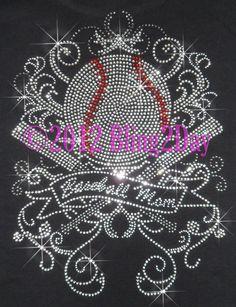 Baseball Mom  Huge Crossed Bat Banner Swirls  Iron by BlingPalace, $10.99