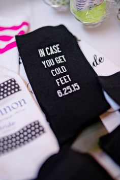 Groom Socks - Just 'in case you get cold feet' - Mens Black Wedding Socks - This fun and funny wedding gift for the groom is personalized with the wedding date. Explore our complete line of custom printed socks for the entire wedding party.