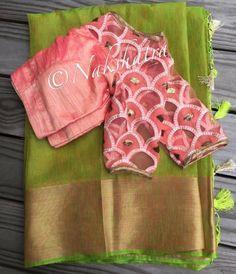 Nakshatra Design Studio By Sushmita. Simple Blouse Designs, Stylish Blouse Design, Silk Saree Blouse Designs, Blouse Neck Designs, Blouse Styles, Trendy Sarees, Fancy Sarees, Cut Work Blouse, Saree Trends