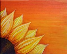 easy sunflower paintings black dots - Google Search #sunflowercanvaspainting