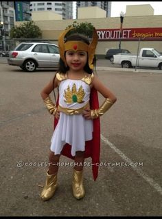 Cute She-Ra homemade costume idea for a girl. Costume Contest.