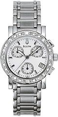 The Bulova 96R19 Ladies watch featuring a chronograph function.