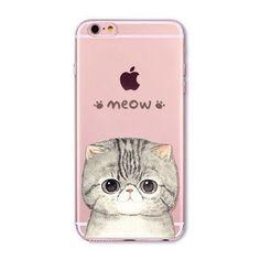 Cute Cat Case Cover For Apple iPhone 6 6s 7 Plus 6sPlus 6Plus 4 4s 5 5s SE Transparent Soft Silicone Cell Phone Bag Capa Cases