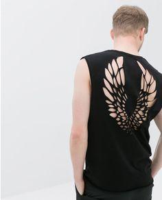 Zara T-shirt with Laser Cut Back in Black for Men