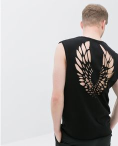 Zara T-shirt with Laser Cut Back in Black for Men