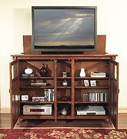 bungalow motorized tv lift cabinet inside view