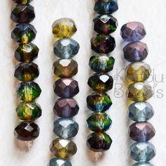 Czech Glass Rondelle Beads Purple Green Blue by KanduBeads on Etsy