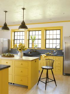 12 Color Schemes For Your Kitchen. Yellow Kitchen CabinetsYellow ...