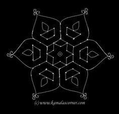 Start with 9 dots in the center and stop at 5 by putting interlaced dots at both side. Simple Rangoli Border Designs, Indian Rangoli Designs, Rangoli Designs Flower, Rangoli Borders, Free Hand Rangoli Design, Small Rangoli Design, Rangoli Patterns, Rangoli Designs With Dots, Rangoli With Dots