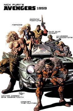 New Avengers Cover: Kraven the Hunter, Sabretooth, Dominic Fortune, Dum Dum Dugan, and Others by Mike Deodato Marvel Comics Poster - 61 x 91 cm Marvel Dc Comics, Marvel Villains, Marvel Art, Marvel Heroes, Captain Marvel, Marvel Comic Character, Marvel Comic Books, Comic Book Characters, Comic Books Art
