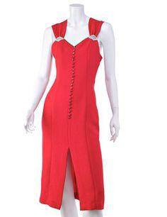 Abito da sera vintage ROSA New York anni '80, made in u.s.a., crêpe rosso, taglia 40, eccellenti condizioni.