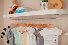 With no separate room for their new baby, Tabitha and her husband came up with a creative storage solution that also doubles as decor (how can you resist cute little outfits on display??). Check out how they made this super easy IKEA hack: