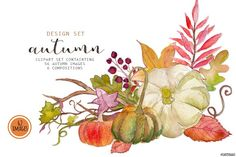 Autumn watercolor clip art by SandraGraphicDesign on @creativemarket