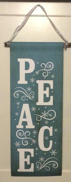 PEACE Christmas Door Canvas Banner - Christmas Decor, Exterior/Interior, Rustic Decor, Secret Santa, Gift Holidays