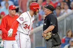 Harper ejected -  Bryce Harper of the Washington Nationals argues with home plate umpire Marvin Hudson after being thrown out of the game in the third inning against the New York Yankees at Nationals Park on May 20 in Washington. -   © Greg Fiume/Getty Images