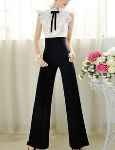 Black High Waist Wide Leg Palazzo Pants