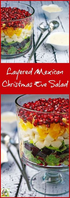 Make something different for the holidays! Learn how to make a Layered Mexican Christmas Eve Salad in a trifle bowl.  Click here to get this easy Christmas Eve dinner salad recipe. Super easy to make, very healthy, and so festive looking!