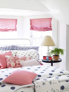 Polka Dots - This classic pattern enlivens any interior. Contrasting colors and sizes keep the space from looking too uniform and can be both whimsical and charming. Duvet cover with matching pillowcases from Ikea, tan pillowcases from garnethil.com, gingham pillow fabric from bandjfabrics.com