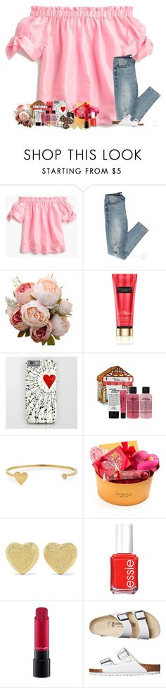 """valentines contest <3"" by classyandsassyabby ❤ liked on Polyvore featuring J.Crew, Victoria's Secret, philosophy, Jennifer Zeuner, Godiva, Carolina Bucci, Essie, MAC Cosmetics and Birkenstock"