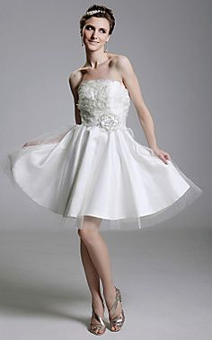 A-line Strapless Short/ Mini Satin Organza Wedding Dress with Flower