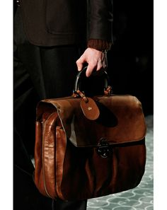 great vintage looking Gucci briefcase with horsebit handle. mens fashion style accessories